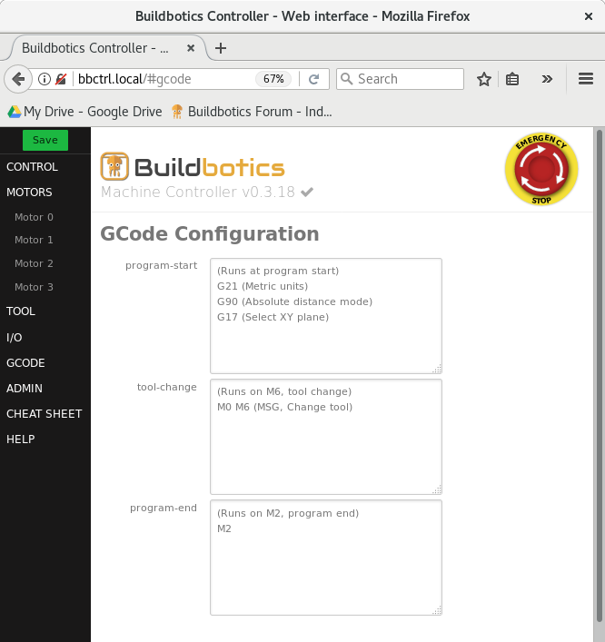 Configuring the Buildbotics Controller