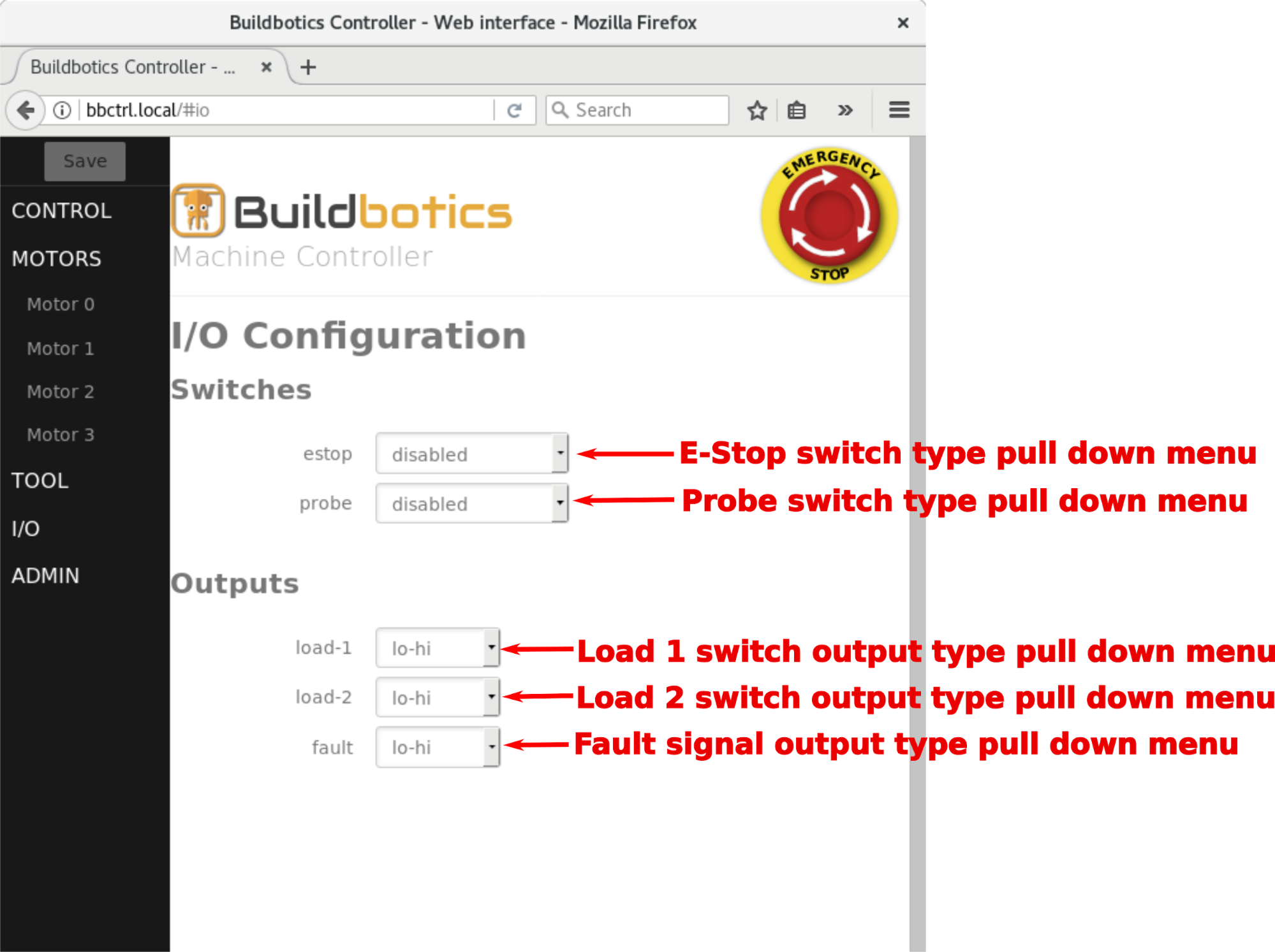Connecting To The Buildbotics Controller Figure Shows Connections For Db25 Connectors Use Table Estop Pull Down Menu Specifies Type Of Switch Connected Pin On I O Connector Options Are